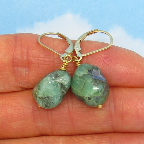 19.9ctw Natural Brazilian Emerald Earrings 14/20 Gold Filled Leverback Dangles - Tumbled Rough Raw Untreated Genuine - 14/20 GF - su171102
