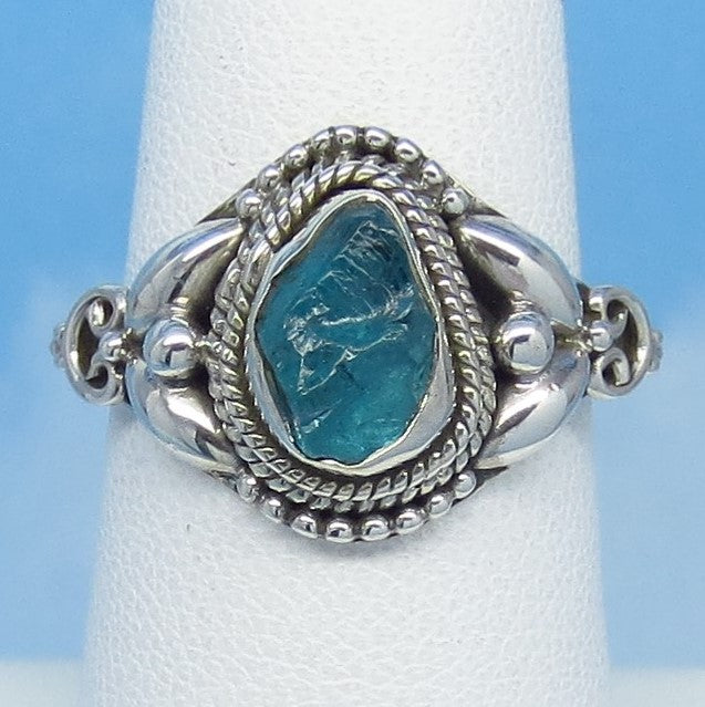 Size 7-1/4 Natural Raw Aquamarine Ring - Sterling Silver - Victorian Filigree Design - Genuine Rough Aquamarine Bali Boho jy161501