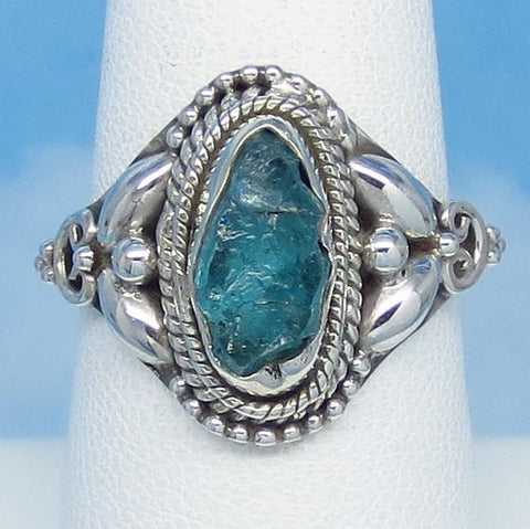 Size 7-3/4 Natural Raw Aquamarine Ring - Sterling Silver - Victorian Filigree Design - Genuine Rough Aquamarine Bali Boho jy161156