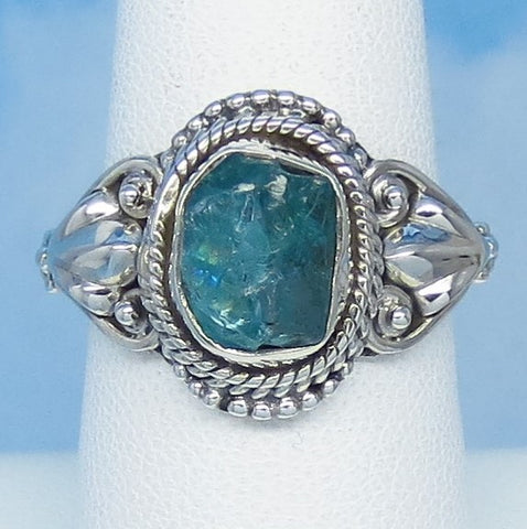Size 7-3/4 Natural Raw Aquamarine Ring - Sterling Silver - Victorian Filigree Design - Genuine Rough Aquamarine Bali Boho jy161401