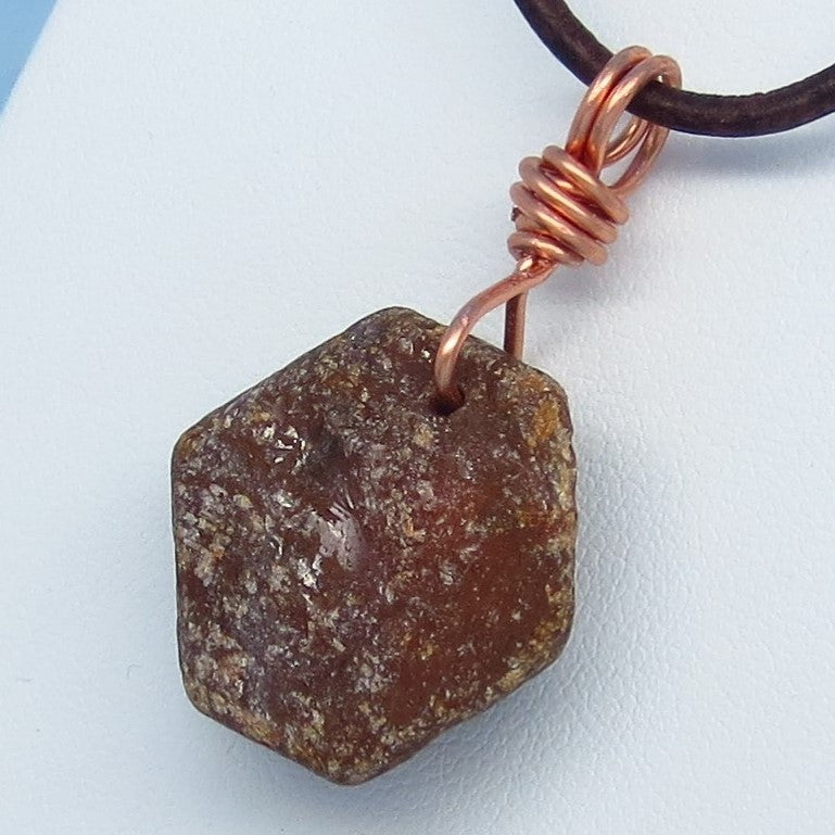 14.6g Ruby - Men's Genuine Natural Raw Large Ruby Leather Necklace - Premium Natural Leather - Solid Copper - 020689