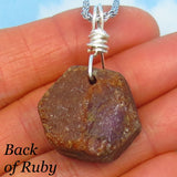 19.4g Ruby - Men's Genuine Natural Raw Ruby Pendant Necklace - Sterling Silver - Rough - Large Ruby - Hexagon - su180688