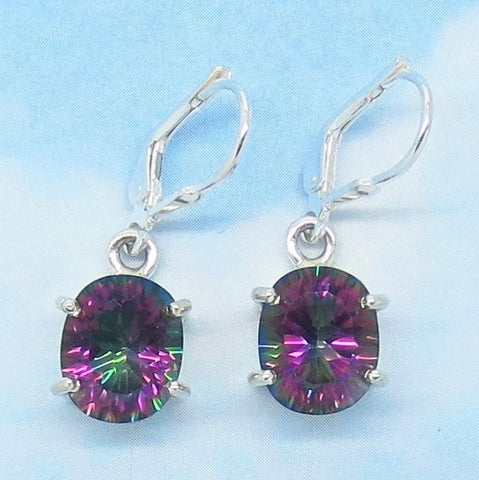 8.98ctw Mystic Topaz Earrings - Leverback Dangle - 11 x 9mm Oval - 925 Sterling Silver - Rainbow Topaz - 241406