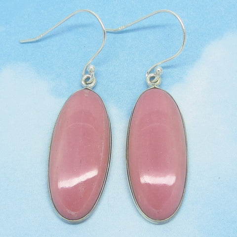 "1-7/8"" Natural Pink Opal Earrings - Dangle - 925 Sterling Silver - Long Oval - Genuine Australian Opal - av171915lvb"
