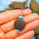 Genuine Dinosaur Bone Fossil Pendant Necklace - Nevada Turquoise - Antique Brass Bead - Solid Copper - Natural - Long - Layering - Leather - mb
