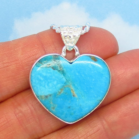 22 x 26mm Natural Arizona Turquoise Heart Pendant Necklace - 925 Sterling Silver - Rope Chain - Genuine USA Mojave Turquoise - p242406