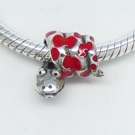 Red Enamel Snake Threaded European Charm Bead 925 Sterling Silver - Euro Charm - 180581-r1799
