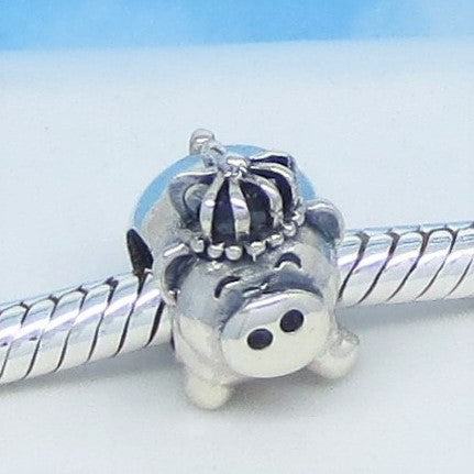 Dancing Pig Wearing Crown 925 Sterling Silver European Charm Bead Pendant Fits Pandora Bracelets - Euro Charm - Not Threaded Queen Princess