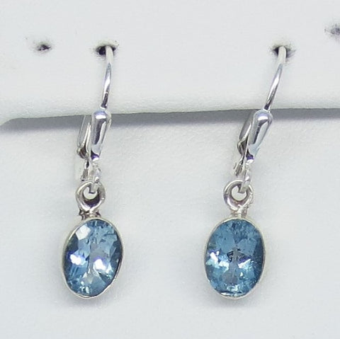 2.2ctw Natural Aquamarine Earrings - Leverback - Dangle - Sterling Silver - 8 x 6mm Oval - Heated - Faceted - Simple - Genuine - 171336