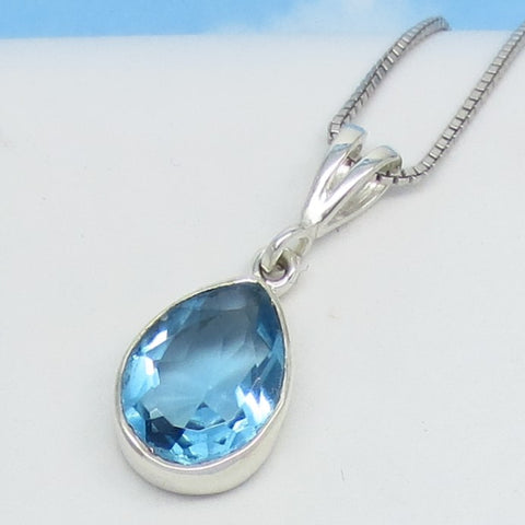 4.2ct Synthetic Aquamarine Pendant Necklace - Sterling Silver - 14 x 10mm Pear - Faceted - Simple - p261033