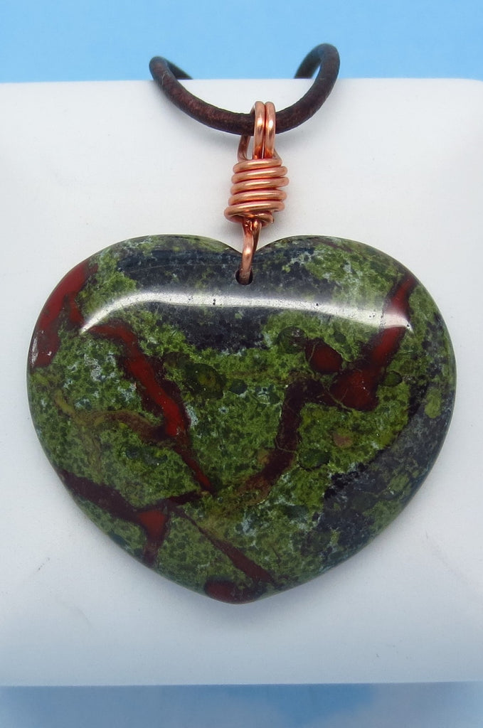 "2"" Men's Dragon Blood Natural Bloodstone Heart Pendant Necklace - Genuine Leather & Solid Copper - Large Heart - Heliotrope - Jasper - Boho - mm6"