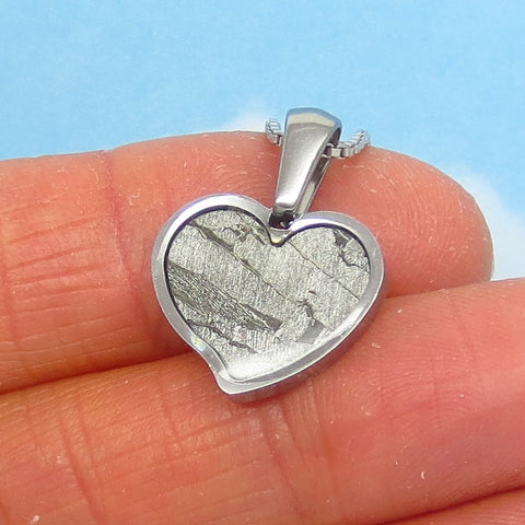 Dainty Heart Meteorite Pendant Necklace - 925 Sterling Silver Chain - Seymchan Meteorite - Genuine - Natural - Small Heart - hmnk1506