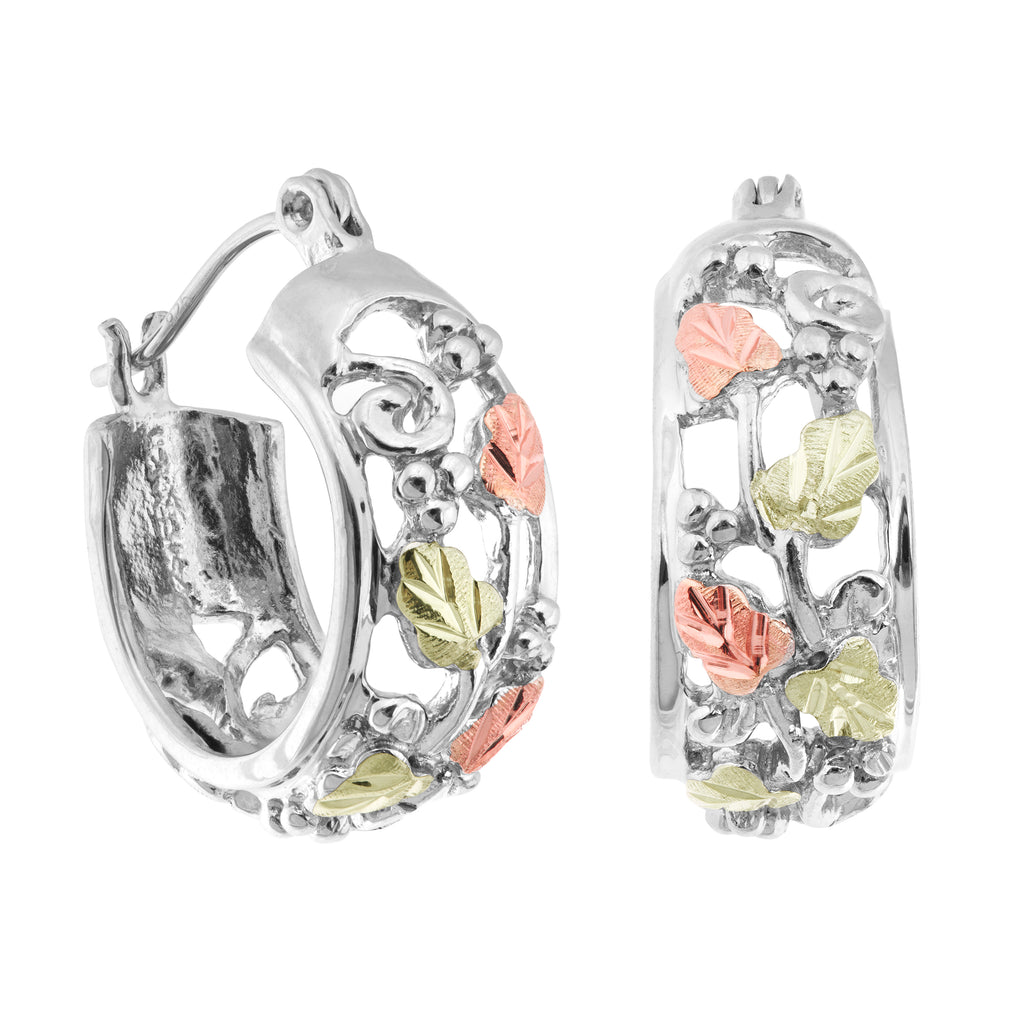 Landstrom's Black Hills Gold on Sterling Silver Hoop Earrings - 12K Rose Pink & Green Gold Accents - Leaf & Grapes - Handmade - MRL01614
