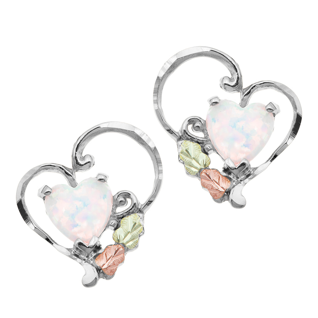 Landstrom's Black Hills Gold on Sterling Silver Lab Opal Heart Earrings - Posts Studs - 12K Rose Gold & Green Gold Accents - Leaf Design - Handmade - MRLER628P