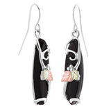 Landstrom's Black Hills Gold on Sterling Silver Black Onyx Earrings - 12K Grape Leaves -Long  Marquise Dangles - Handmade - MRLER990