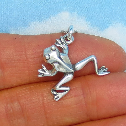 Sterling Silver Tree Frog Necklace - 3D - Dimensional - Woodland Necklace - f170602