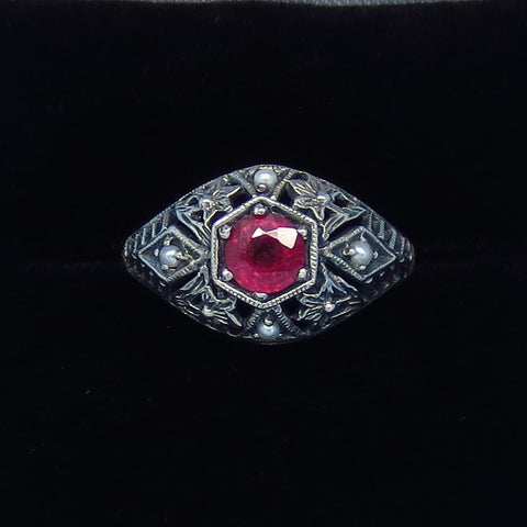 Size 4.75 - .60ct - Genuine Ruby Victorian Filigree Ring - Sterling Silver - Seed Pearl - Dome - Delicate - Dainty - Pinky - Gothic c262869