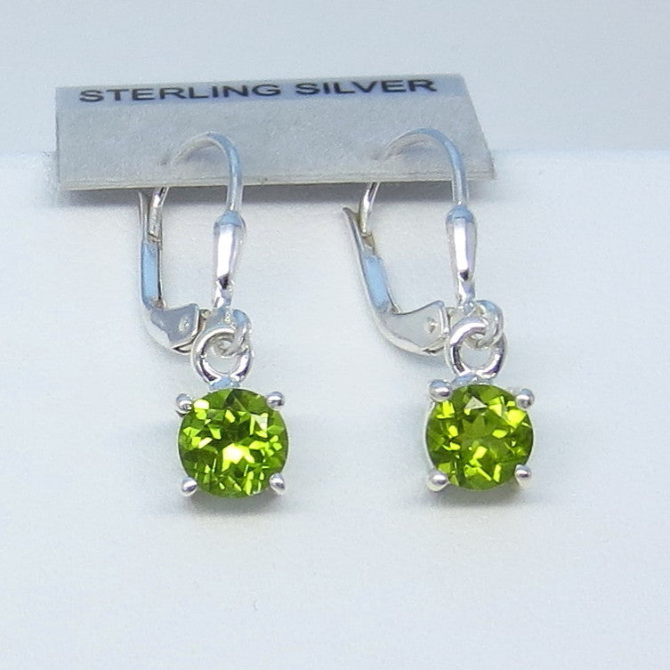 1.7ctw Genuine Peridot Earrings - Sterling Silver - Leverback - 6mm Round - Small - Simple - Dainty - 161982