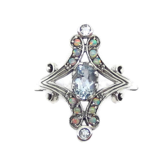 "Size 7 Genuine Aquamarine & Opal Ring - Sterling Silver - Victorian Filigree Reproduction - 3/4"" Tall Ring - 151359"
