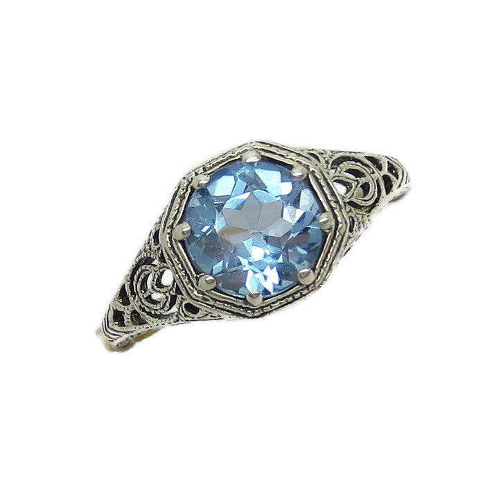 2ct Genuine Aquamarine Ring - Victorian Filigree - Deco - Reproduction - Round Cut - c182203