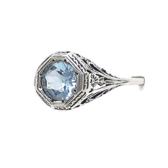 1.25ct Genuine Aquamarine Ring - Victorian Filigree - Sterling Silver - Deco - Reproduction - 7mm Round Cut - c182016