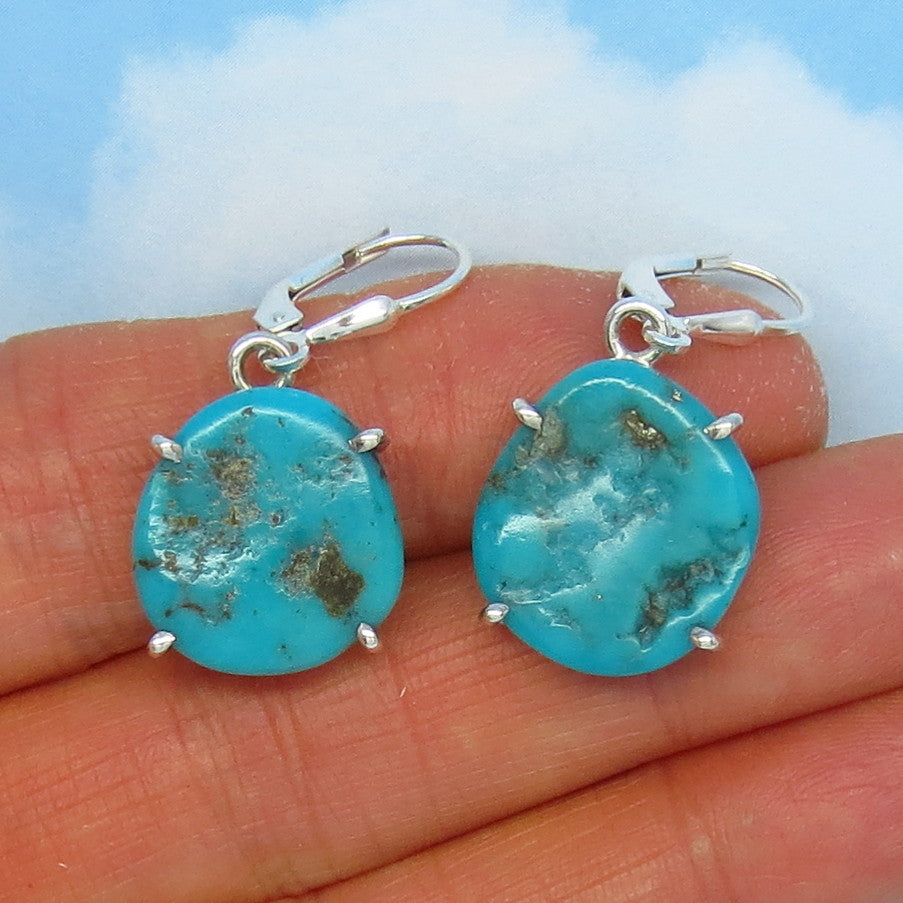 Natural Arizona Turquoise Nugget Leverback Earrings - 16 x 15mm - 5.5g - Sterling Silver - Simple - Genuine Raw Rough Nugget - 151316X