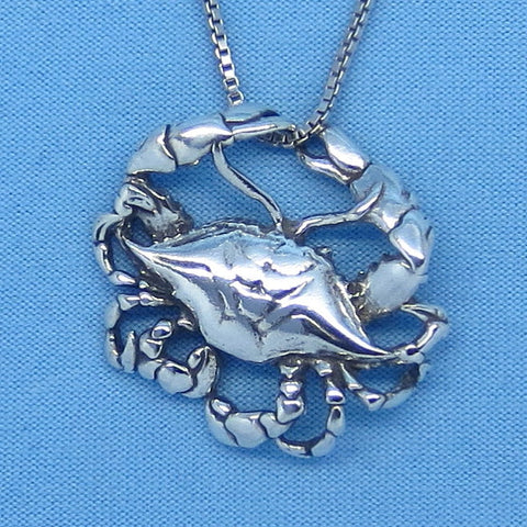 3-D Sterling Silver Cancer Crab Necklace - Beach - Sea Life - Horoscope - Astrology - Zodiac - c160588