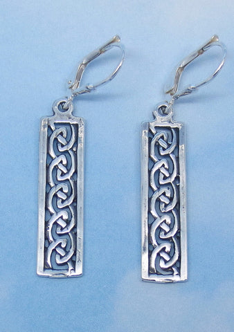 Sterling Silver Celtic Earrings - Leverback - Long Rectangle - Celtic Knot - Irish Knot - Oxidized -- su150698