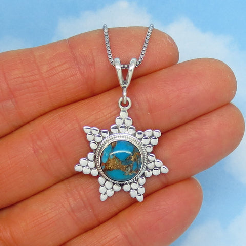Mojave Blue Copper Turquoise Sun Pendant Necklace - Sterling Silver - Small - Natural - Genuine - p261225