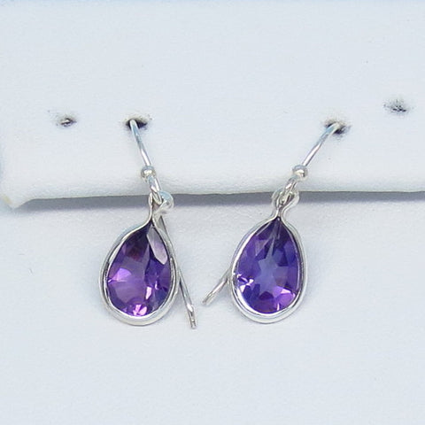 2.0ctw Natural Amethyst Earrings - Sterling Silver - Dainty Pear Shape - 8 x 6mm - Genuine Amethyst - Purple Amethyst - Small - su151215