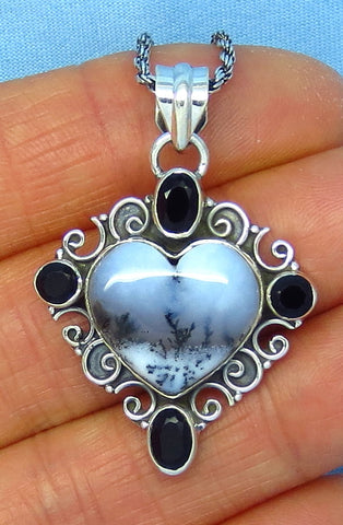 Merlinite Dendrite Opal Heart Pendant Necklace - Sterling Silver - Filigree - Dendritic Agate - Antique Vintage Design - p151709