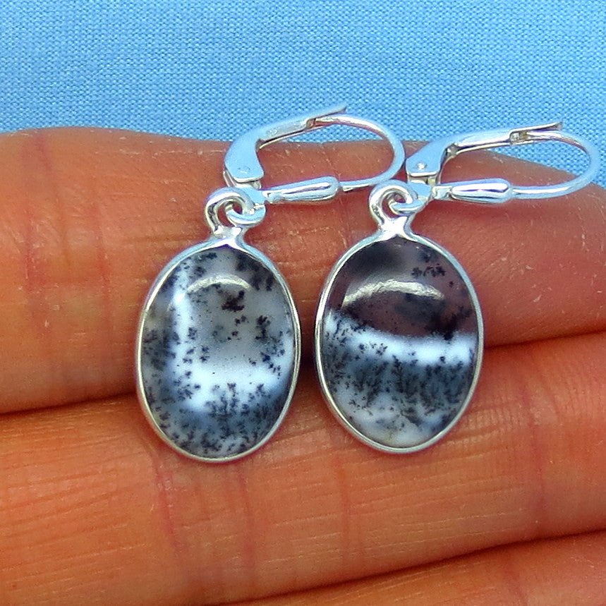 Merlinite Dendrite Opal Leverback Earrings - Sterling Silver - 3.0g - Oval - Dendrite Agate - Small Dainty Simple Classic - 151436