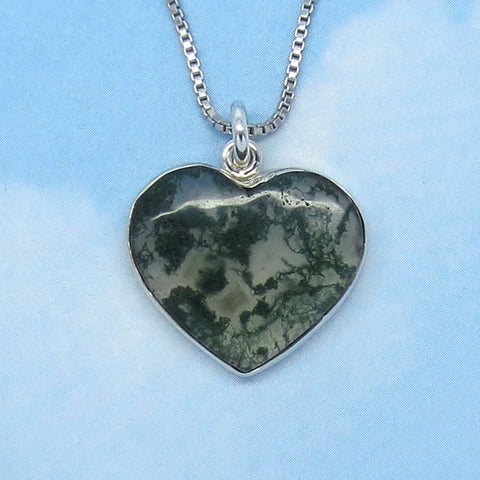 Natural Moss Agate Heart Necklace - Sterling Silver - Natural - Genuine - h170653