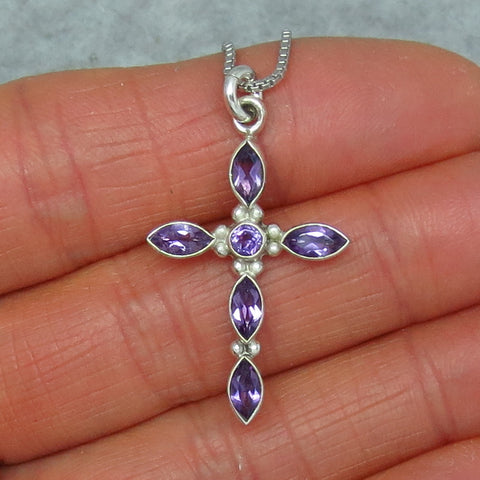 Small Genuine Amethyst Cross Pendant Necklace - Sterling Silver - Handmade - p150909