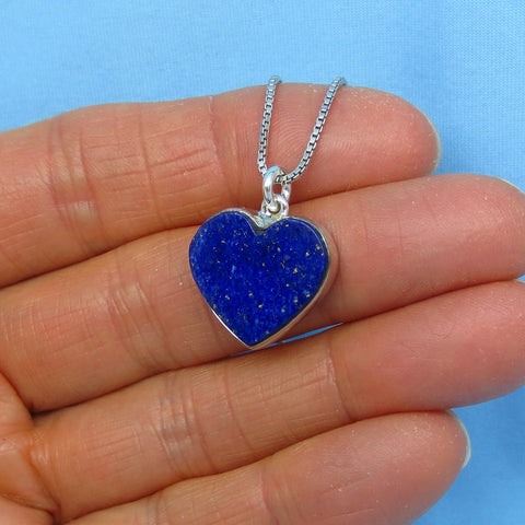 Small Genuine Lapis Lazuli Heart Pendant Necklace - Sterling Silver - p150853