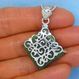 Genuine Nephrite Jade Pendant Necklace - Sterling Silver - Filigree - Square - Diamond Shape - jy171406