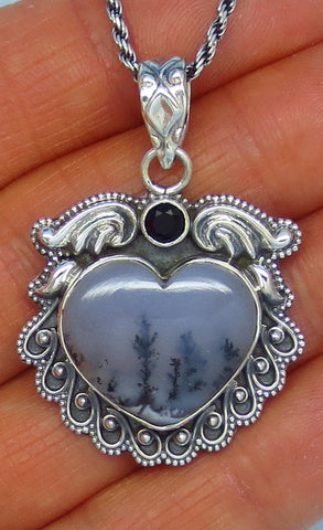 Gothic Merlinite Dendrite Opal Heart Necklace - Sterling Silver - Victorian Filigree Design - p162366av