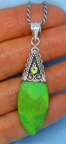 Mojave Green Turquoise Pendant Necklace - Sterling Silver - Peridot Accent - Boho Bali Design - Marquise - sa151524