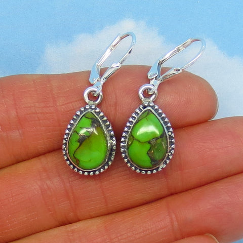 Natural Mojave Green Turquoise Earrings - Sterling Silver - Leverback - Pear Shape - Genuine Arizona Turquoise - Boho Design - su171701