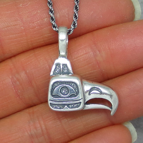 Sterling Silver Inuit Eagle Pendant Necklace - Eagle Head - Eagle Mask - Alaska - Pacific Northwest - Raven - Totem -- p171194