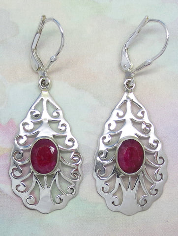 Genuine Ruby Earrings - Leverback - Sterling Silver - Jali - Filigree - Pear Shape - Natural Ruby - Raw Ruby - India Ruby - Long - su161708