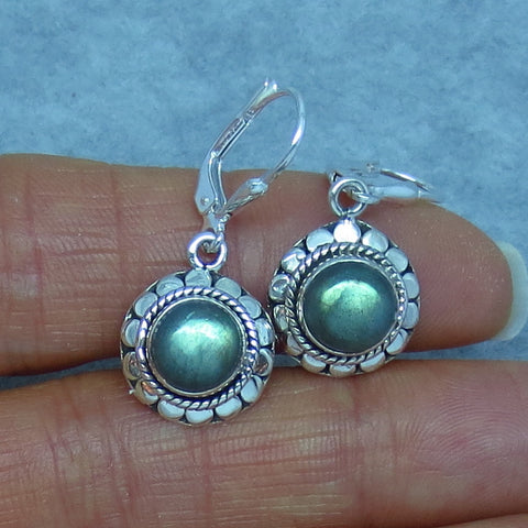 Green Labradorite Earrings - Leverback - Sterling Silver - Victorian Bali Boho Design - Handmade - su211408