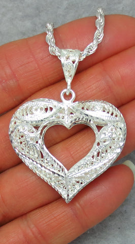 Large Sterling Silver Filigree Heart Pendant Necklace - Sparkly Diamond Cut - Open Heart - Made in Italy - p162158