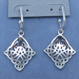 Celtic Trinity Knot Earrings - Leverback - Sterling Silver - Sun Symbol - Handmade - 181008