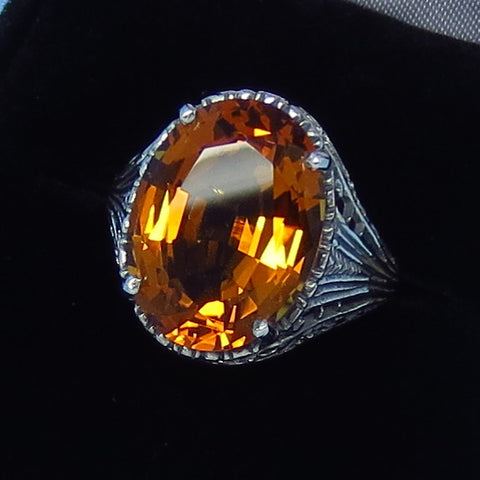 8ct Size 7 Golden Citrine Ring - Sterling Silver - Victorian Filigree Reproduction - Gothic Ring - 262404