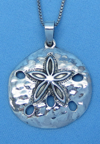 "Large Sterling Silver Sand Dollar Pendant Necklace - 18"" 20"" or 24"" -- p150817"