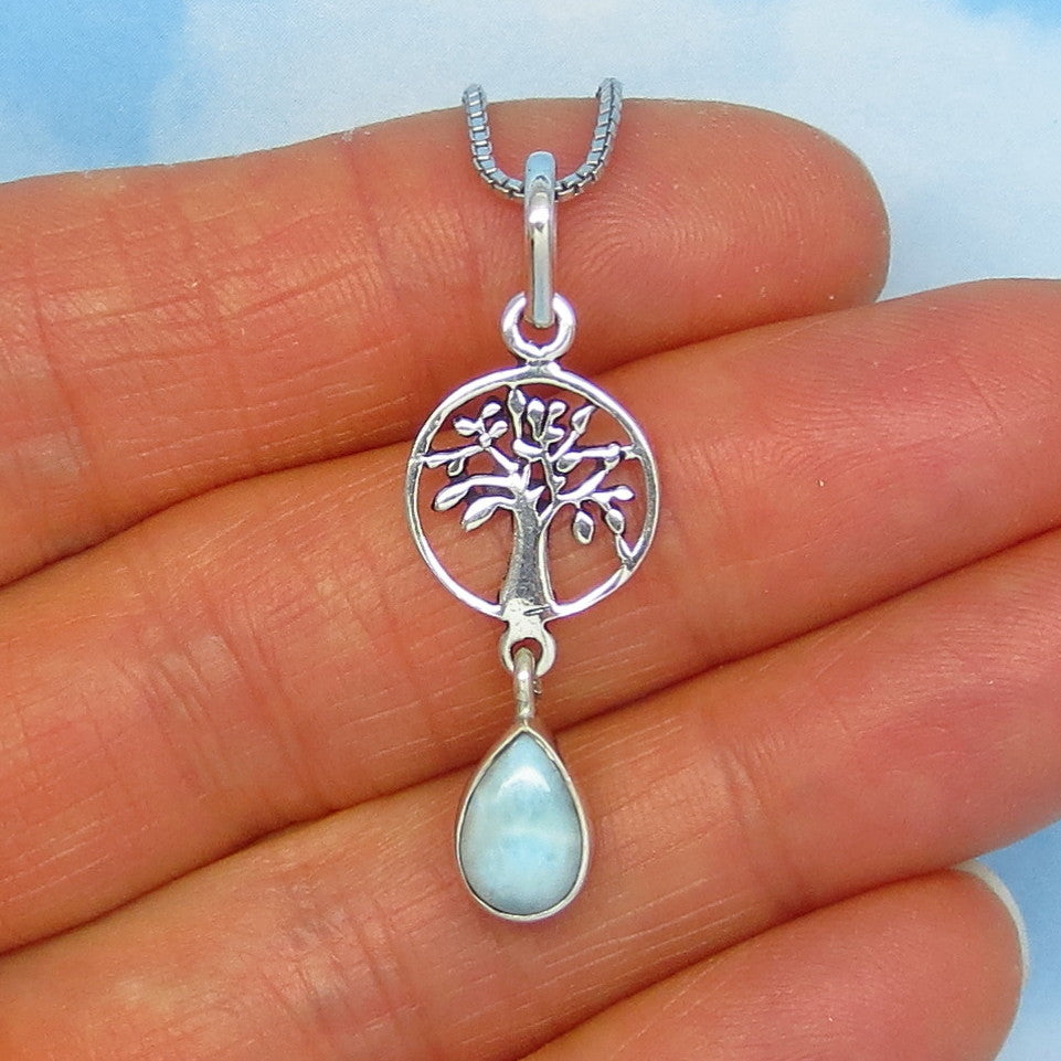 Natural Larimar Tree of Life Pendant Necklace - Sterling Silver - Small - Dainty - Pear Shaped - Genuine Larimar - Celtic - p161456