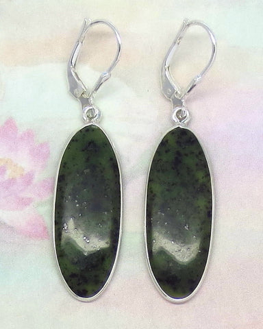 Nephrite Jade Earrings - Leverback - Sterling Silver - Genuine Jade - Natural Jade - Dark Green Jade - Long Oval - Large Jade - su151319