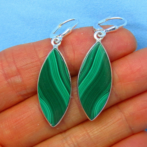 Genuine Malachite Earrings - Leverback - Sterling Silver - Long Dangles - 171538