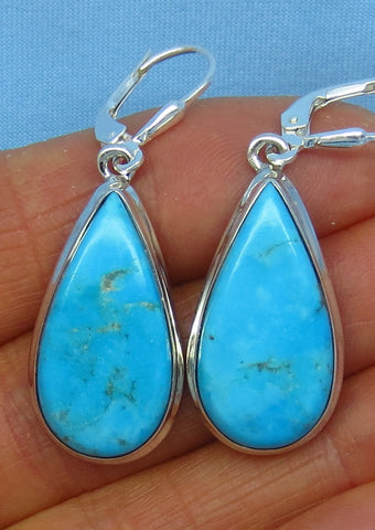 Blue Mojave Turquoise Earrings - Leverback - Sterling Silver - Pear Shape - Arizona Turquoise - Robin's Egg Blue - 8.0g - su152606